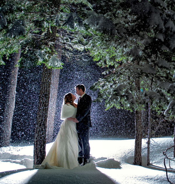 "A wintertime wedding in Lake Tahoe brings some key benefits: Prices are lower, hotels are less crowded, and the snow-covered mountains are gorgeous. Photographers Tara and Matt Theilen of Theilen Photography prefer the natural winter ""sunset"" lighting as well."